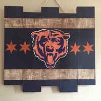 Chicago Bears Large Wooden Stained Flag; Handpainted; Football Decor; Mancave; Wood Sign; Wall Art; NFL; Distressed Rustic; Sports Gift Idea