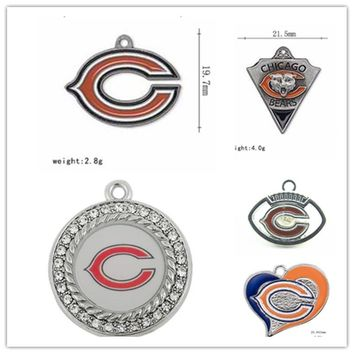 Mix 6 Styles Enamel Football Team Chicago Bears Dangle Charms Pendant For DIY Bracelet&Necklace Earrings Jewelry 20pcs/lot