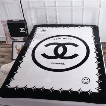 CHANEL White Throwing Blanket
