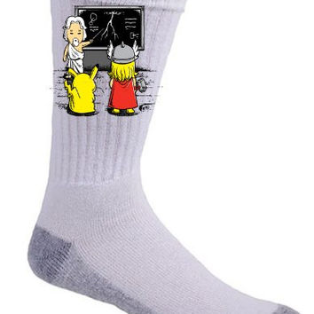 'Lightning Lessons' Pocket Monster and Lightning God Cartoon Movie Logo - Crew Socks