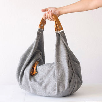 Large shoulder bag, slouch hobo purse in herringbone wool and light Brown leather - Kallia bag