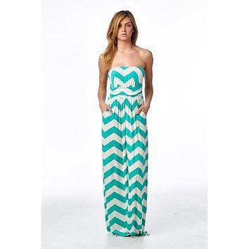 Jade and Off White Chevron Maxi Dress