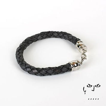 VujuWear Thick 8mm Braided Black Men's Leather Bracelet