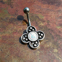 14 gauge stainless steel clover white opal  belly button ring, navel ring, body jewelry