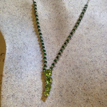 Necklace Real Green Chrome Diopside Peridot 925 Sterling Silver Y Necklace