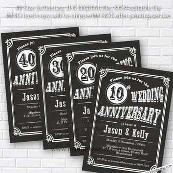 Anniversary Invitation, Wedding Anniversary Invitation 10th 20th 30th 40th 50th 60th 70th chalkboard retro theme - card 528