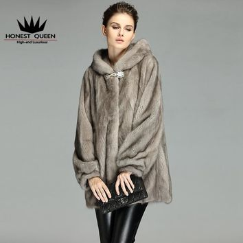 2017 mink coat mink fur mink women  in long hooded gray