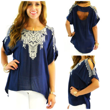 Mazzy Star Navy Embroidered Loose Top