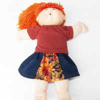 "Autumn Cabbage Patch Clothes HANDMADE Rust Skirt Outfit 16"" kids doll fall  2 pc"