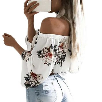 2017 Cute Floral Printed Boho Shirts Loose Beach Women Summer Blouse Casual Off Shoulder Top Flare Sexy Slash Neck Blusa GV689