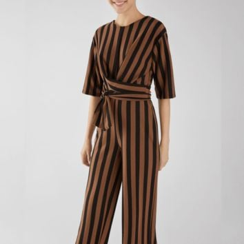 Fashionable medium sleeve round collar slim body long striped jumpsuit with belt