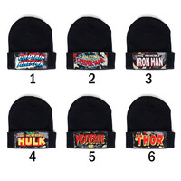 Super Hero Avengers Marvel Heros Captain America, Hulk, Thor, Spider-Man, Wolverine Patched Beanie