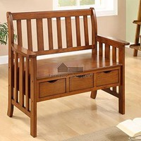 Pine crest oak solid wood finish country style bench with 3 under seat drawers
