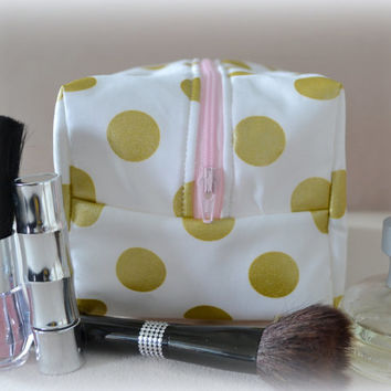Metallic Gold and Blush Polka Dot Makeup Bag, Bridesmaid Gift, Monogram Available