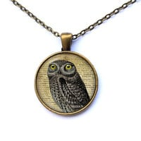 Vintage jewelry Owl pendant Bird necklace CWAO183-1