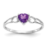 10k or 14k White Gold Genuine Amethyst Heart February Birthstone Ring