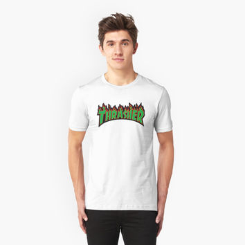 'thrasher green logo' T-Shirt by ToniLampadaire