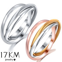Men's Women's Wedding Jewelry Classical 3 Rounds 18K Rose Yellow White Gold Gold Plated stainless steel Ring Set Jewelry