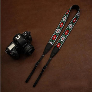 DSLR Camera Cotton Handmade Camera Strap Red Flower 7540