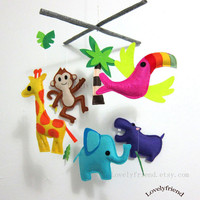 "Nursery Decor-Baby Mobile - Jungle Animal Crib Mobile - Elephant baby crib mobile -  ""giraffe, elephant, hippo, monkey"""