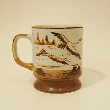 Flying Cranes Mug Pottery Stoneware Dunes Japan Brown handmade hand painted