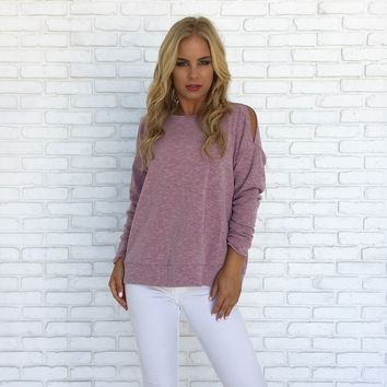 April Ribbed Sweater Top in Pink