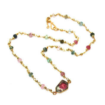 Watermelon Tourmaline Slice Station Necklace Rainbow Tourmaline Necklace Gold Artisan Gemstone Jewelry