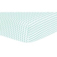 Mint Chevron Fitted Crib Sheet