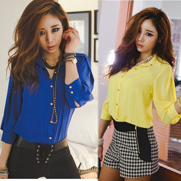 Hot Women Fashion 3/4 Sleeve Lapel Collar Button Sheer Chiffon Shirt Blouse Tops F_F = 1901798340