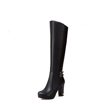 PU Leather Side Zip Chunky Heel Tall Boots 6694