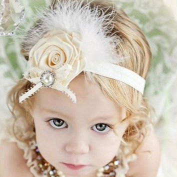 Classic Headband/Hair Headband Baby Girl with feather lace rhinestone flower/new born headband