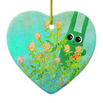 green bunny ornamen ceramic ornament