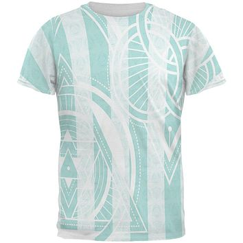 Summer Sacred Geometry Teal Stripes All Over Mens T Shirt