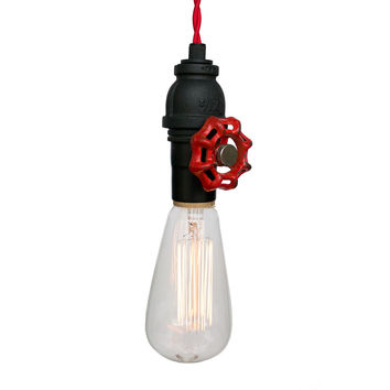 Vintage Upcycled Valve Pipe Pendant Light – Red Cloth Cord
