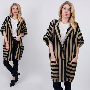 vintage 80s striped kimono jacket longline duster brown + black blazer front button draped coat short sleeve