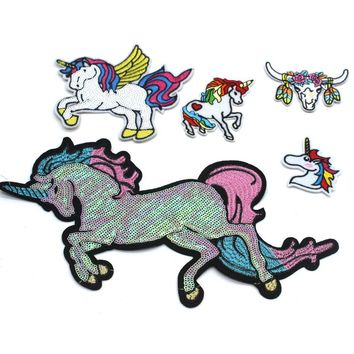 2pcs/lot Unicorn patch iron on Embroidered sequined animal applique big horse embroidery sew on Clothing Modify jean Accessories