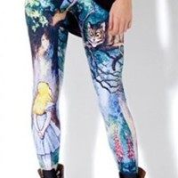 Sunnydate Women's New 2014 Fashion Seamless Printed Alice in Wonderland Leggings