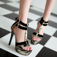 2016 Brand New Summer Women Open toe Buckle Sandals Thin high heel Fashion Black/cut-out big us size 35-43