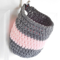 Crochet Hanging Basket - Nursery Storage Basket - Hanging Basket Organizer - Bathroom Storage Organizer - Coat Hook Basket - Pink and Gray