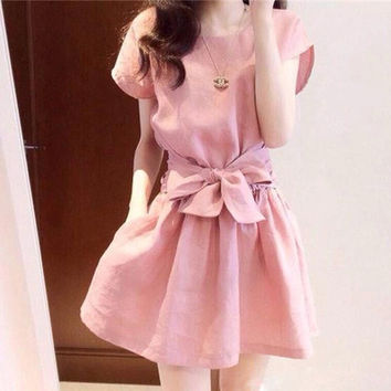 Summer Korean Dress Cats Star Women's Fashion Princess Dress One Piece Dress [4920538116]