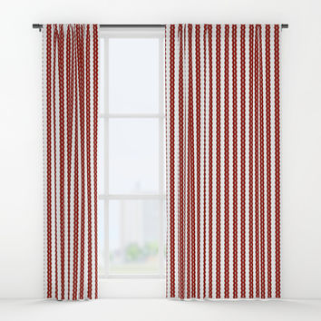 Red And White Striped Window Curtains by Colorful Art