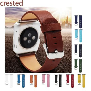 CRESTED Genuine Leather Wrist Watch Band Strap for iwatch Apple Watch band 42mm 38mm with adapter