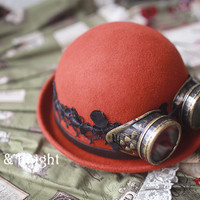 Steampunk Woolen Bowler Hat with Googles