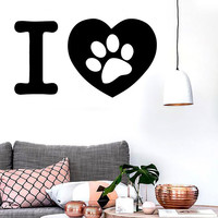 Vinyl Decal I Love Pet Dog Cat Mural Kids Room Decor Wall Stickers Mural Unique Gift (ig254)