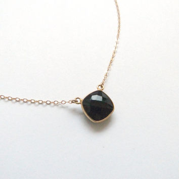 Black Onyx Gold Necklace Layering necklace Gold layered necklace Bridesmaid gift Anniversary gift gemstone necklace