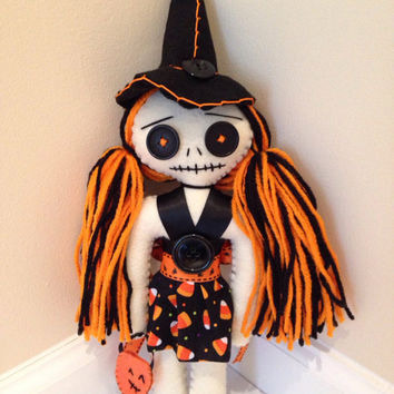 Witch Doll, Halloween Doll, Trick Or Treat Bag, Candy Corn, Witch Hat, Halloween Costume, Pumpkin Decoration, Fall Decorations