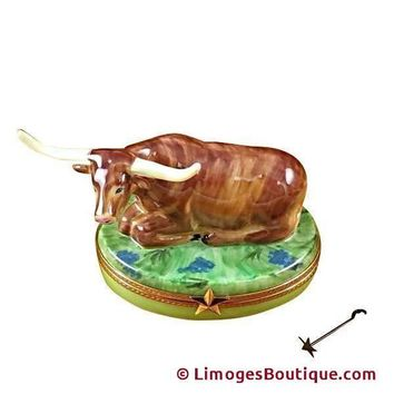 LAZY LONGHORN WITH STAR BRANDING IRON LIMOGES BOX