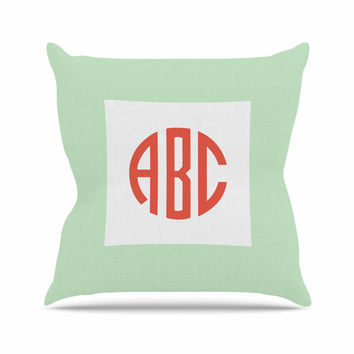 "Kess Original ""Classic Monogram Green "" Green Monogram Outdoor Throw Pillow"