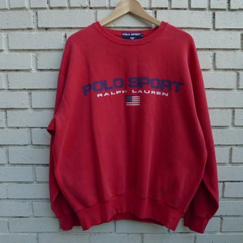 Vintage POLO Sport by RALPH LAUREN Sweatshirt Crewneck vtg polo sport Red sweats vtg disgner American Flag
