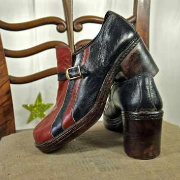 70's Platform Shoes Men's Navy and Red Racing Stripes Patent Leather Platform Disco Shoes Made in Lebanon